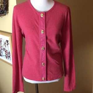 COACH sz Large CASHMERE & LEATHER toggle Cardigan